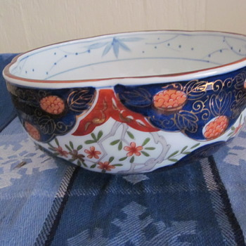 Japanese Imari ?? Possible 20 Century Serving,Fruit Bowl Unique Pattern and Markings - Asian
