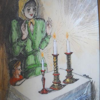 "Saul Raskin Etching of Mother & Daughter lighting Shabatt Candles"""