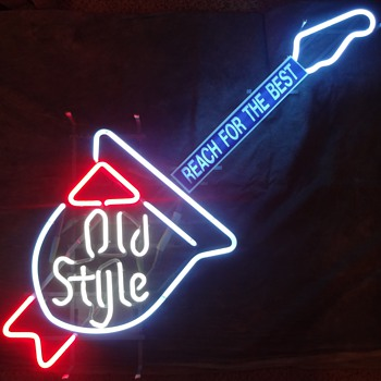 OLD STYLE BEER -  1970's Neon Guitar Sign - Breweriana