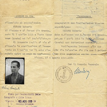 1944 RSI travel document from Vienna - Paper