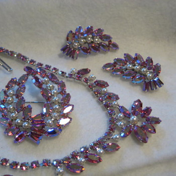 B DAVID MATCHING SET OF PINK AND PEARLS - Costume Jewelry