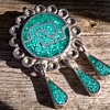 Post-1979 Sterling & Turquoise Chip Taxco Brooch/Pendant