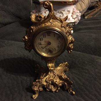 "antique clock.  appr. 5"" tall. wind up. - Clocks"