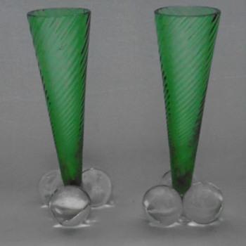 Art Nouveau Green Glass Vases......Harrach - Art Glass