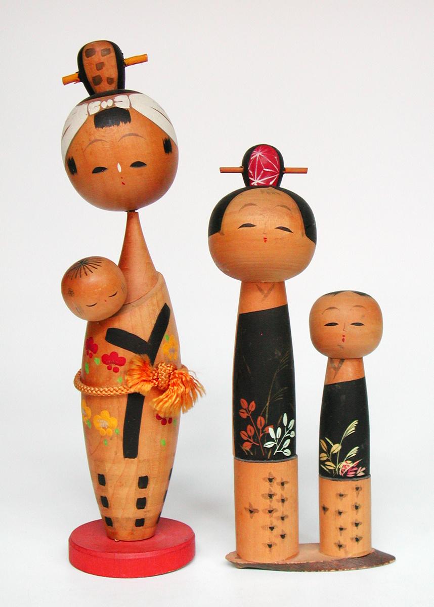 Black + Akihiro Sakurai Painted Wood Kokeshi Doll, 30cm