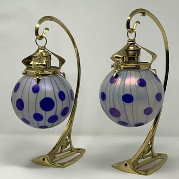 """Loetz """"Zephyr m. Blauen Streifen und Punkten"""", PN 85/3780, Kolo Moser, ca. 1900 - Art Glass"""