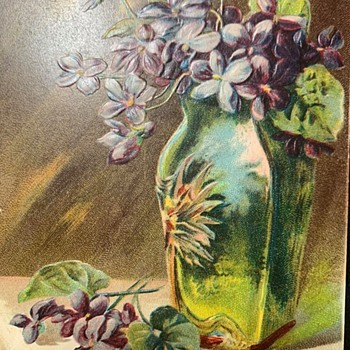 Four Sided Pallme Konig Floral Abstract Art Glass Vase With An Intriguing 1908 Post Card...... - Art Glass