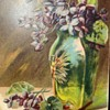 Four Sided Pallme Konig Floral Abstract Art Glass Vase With An Intriguing 1908 Post Card......