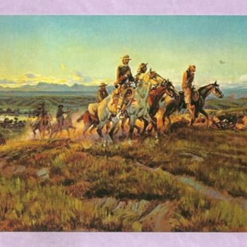 CHAS.M.RUSSELL POSTCARDS WESTERN ART PAINTED IN YELLOWSTONE PK, MONTANA - Postcards
