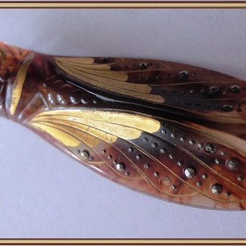 Art Deco Lucite Marcasite Cicada Brooch - Art Deco