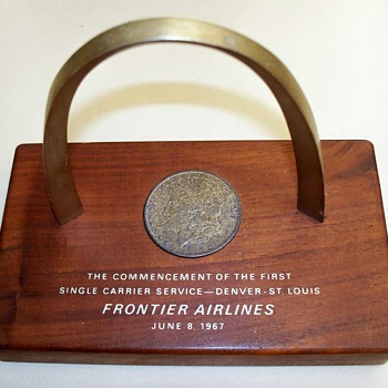 Frontier Airlines 1967 Placard with 1883 Silver Dollar  - US Coins