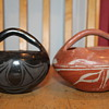 "Southwestern Native American Pottery 2 pots with Handles ""Baskets"""