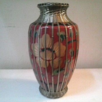 "8"" Japanese Meiji Art Pottery Vase with Silver (Plate) Basket Weave Overlay /Circa 1900-1912 (20 ?) - Pottery"