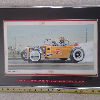 hand painted 1960s  original lindberg model car artwork - Model Cars