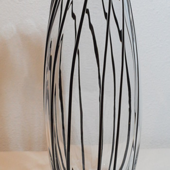 Clear Glass Tall Vase with Black Threads - Art Glass