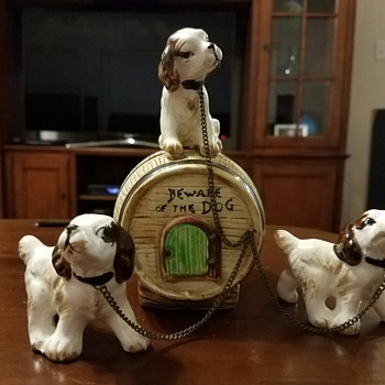 "Vintage Trio of ""Beware of the Dog"" Pups Piggy Bank"