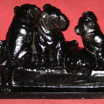 Cast Iron English Bulldog Puppies Doorstop - Animals