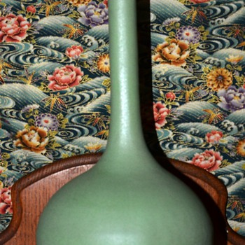 Matte Green Bud Vase - unsigned - Pottery