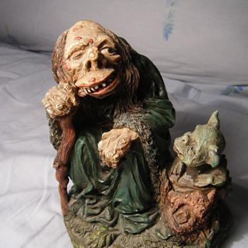 Hunchback Wise man + dwarf? dog ? resin figure?? WU 96 signed - Figurines