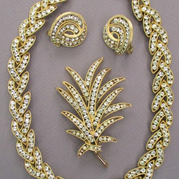 Trifari Cavalcade Rhinestone Necklace, Brooch and Earrings - Costume Jewelry