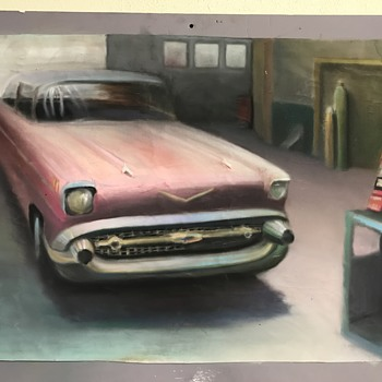1957 Chevy Bel Air two door  pastel art work  - Classic Cars