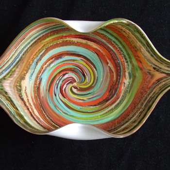 Funky & Kiss-able 1960-70's MURANO Cased Glass Bowl with Aventurine - Art Glass