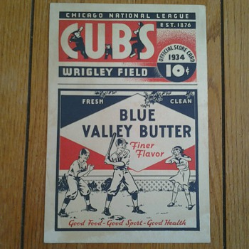 1934 Blue Valley Butter/Chicago Cubs Score Card and Blotters - Baseball