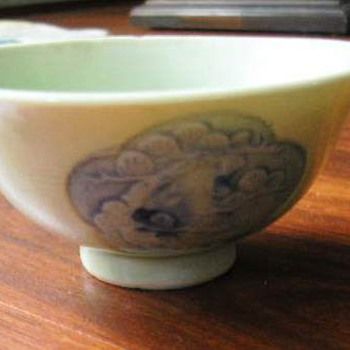 Celadon glaze under blue  Tea Bowl   very old