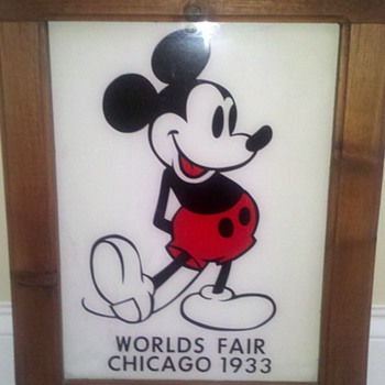 Mickey Mouse Glass Sign from 1933 Worlds Fair in Chicago