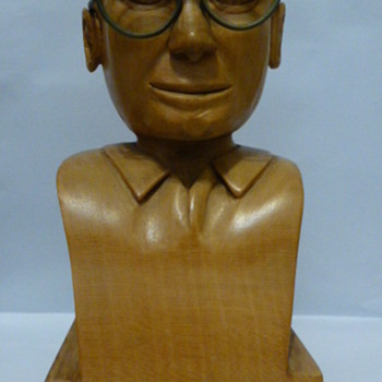 Small wood carving of a man's head and shoulders - Folk Art