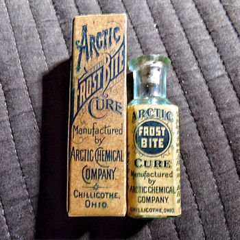 """Arctic Frost Bite Cure"" circa 1898 boxed, labeled, and embossed. - Bottles"