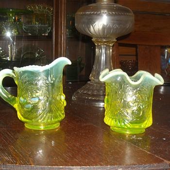 Vaseline Glass Sugar and Creamer Set - Glassware