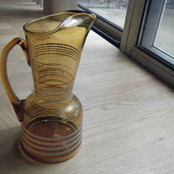 Amber Glass Gold Frosted Rings Pitcher