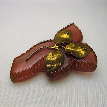 Bakelite dress clip with metal leaves  - Costume Jewelry