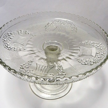 Pressed Glass Pedestal Cake Stand - Glassware
