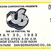 The Us Festival Ticket Stub