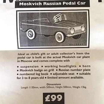 Moskvich Pedal Car AZLK  Print Advert - Toys