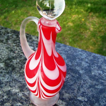Victorian Art Glass Nailsea Red and White Drape Cruet Early 1900s - Art Glass
