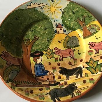 Vintage terracotta plate  - Pottery