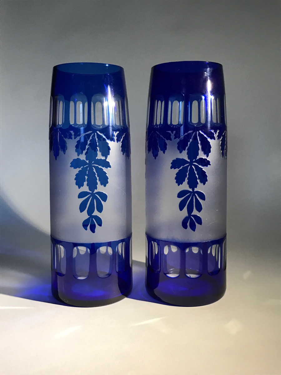 vase buy cut wholesale glass azure blue art vases