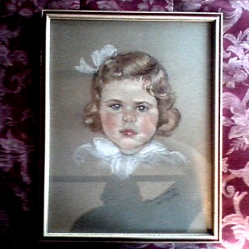 "Pastel Sketch ""Constance Bosworth Age 3""/15"" x 19"" Framed / By Delores R. (Ridings)-Van Duzer / Circa 1936 - Fine Art"