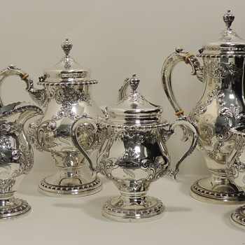 FRANK M. WHITING & COMPANY - Hand Chased Sterling Tea Set - Silver