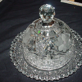 Czech crystal covered butter dish
