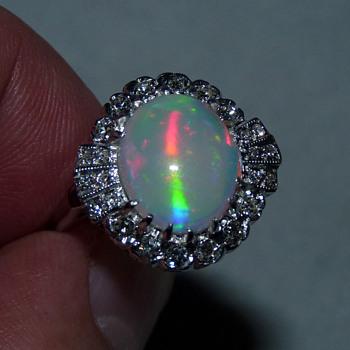 Unusual Coober Pedy Cat's Eye Crystal Opal in Art Deco 14k WG & Diamond Ring