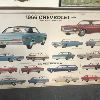 Chevrolet showroom dealer posters 1966 and 1964  - Advertising