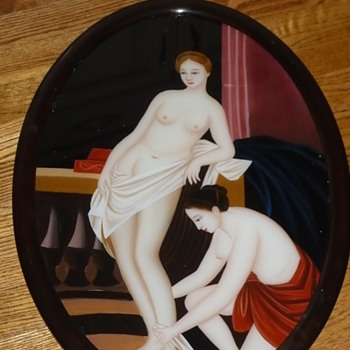 Help Identify artist Reverse Painting of Nude asian women