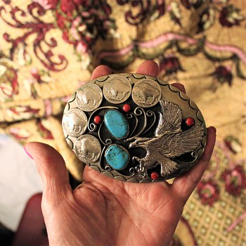 Huge Native American Belt Buckle w Turquoise and Coral - Native American