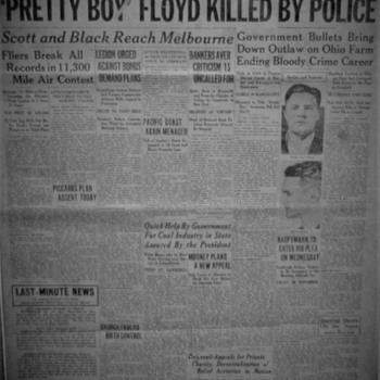 "Johnstown Evening Democrat ""Pretty Boy Floyd Killed By Police"" (October 23,1934) And Original Owner Of Newspaper - Paper"