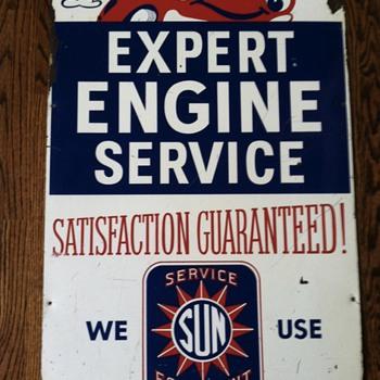Sun service tin sign  - Petroliana