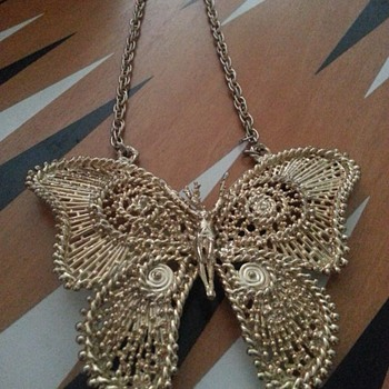 Just showing! Sascha Brastoff Butterfly Necklace - Costume Jewelry